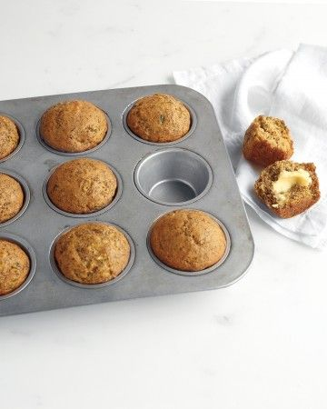 Shredded zucchini, ripe banana, and ground flaxseed dial up the nutrition factor in these moist muffins.
