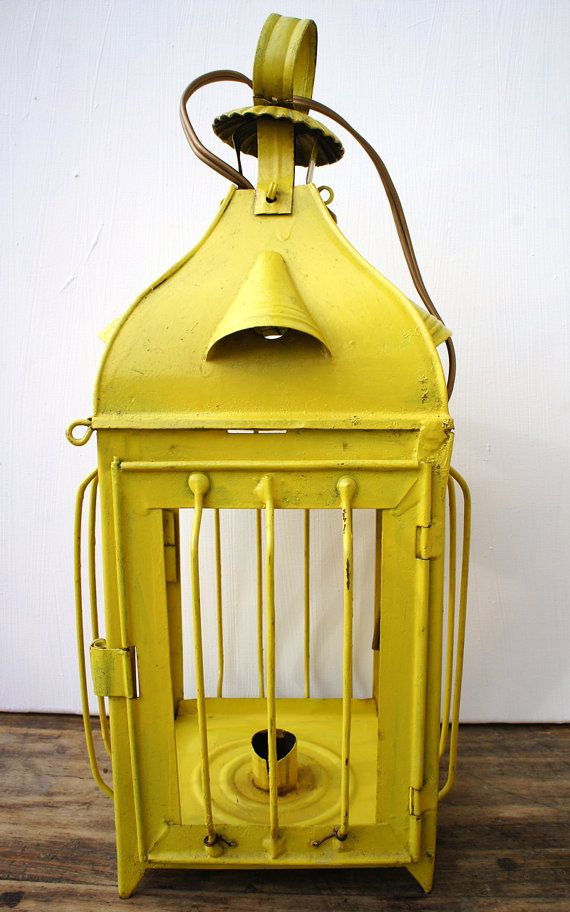 Vintage Yellow Candle holder Lantern, French Rustic Home Decor