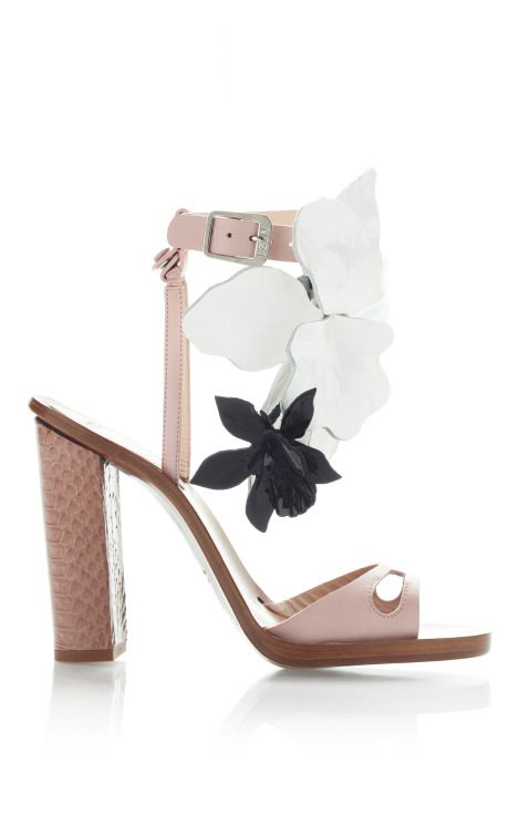 designer: No. 21 details here:No. 21 Blush Pink High Heel Sandals With Black And White Flowers