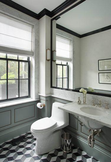 Nina Farmer Interiors   Bathrooms   Gray Green Wall Paneling, Nailhead Trim  Wall Paneling