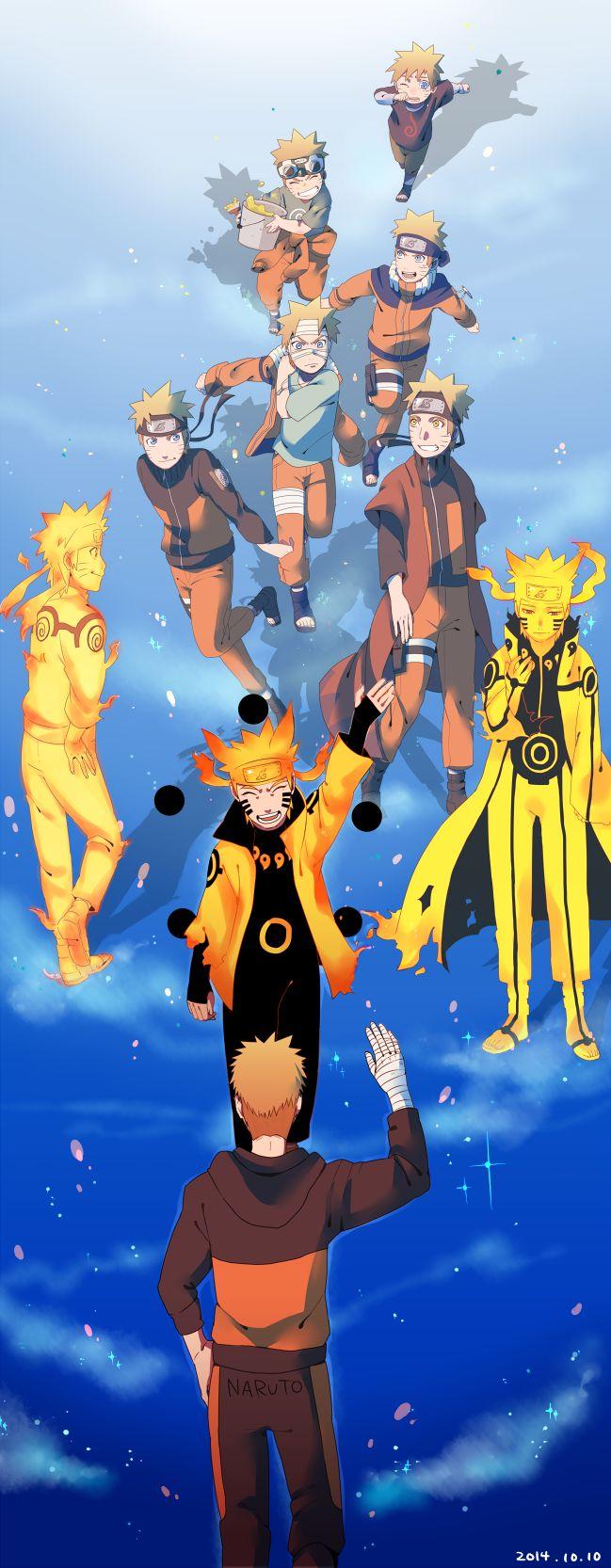 desenho mostra evolução de naruto pelo anime