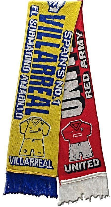 United v Villarreal Half Half Friendship Knitted Scarf