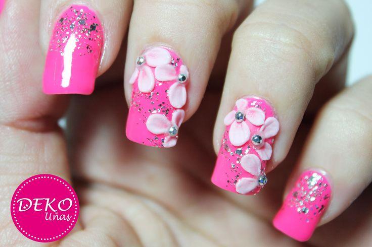 Decoracion de uñas flores 3D - 3D nail art flowers