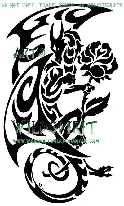 Dragon And Rose Tattoo by *WildSpiritWolf on deviantART