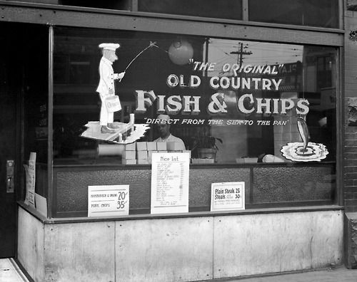 Old Country Fish & Chips, 6 East Hastings Street, 1923 Source: Photo by Stuart Thomson, City of Vancouver Archives #99-3455 #vancouver