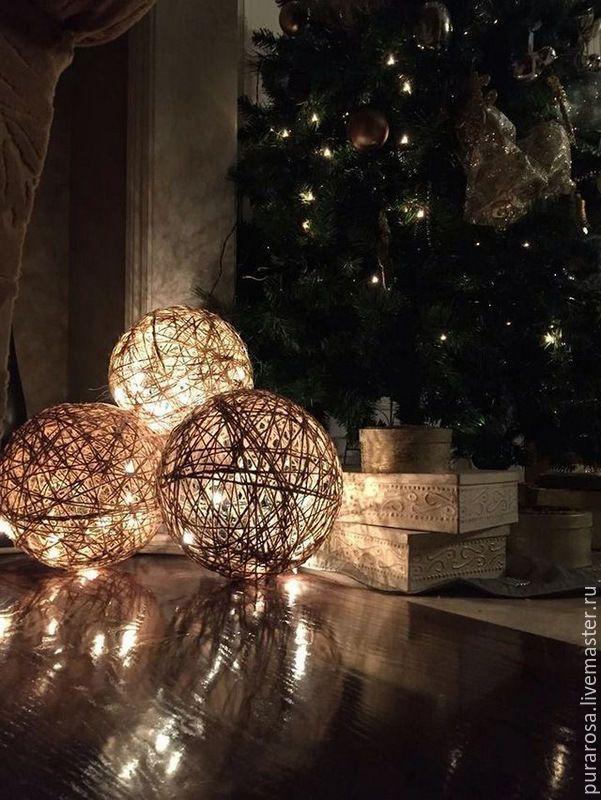 Новогодний Царь-шар из джутового шпагата - Ярмарка Мастеров - ручная работа, handmade