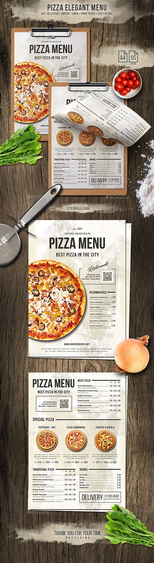 Pizza Elegant Menu - A4 and US Letter - #Food #Menus Print Templates Download here: https://graphicriver.net/item/pizza-elegant-menu-a4-and-us-letter/20030786?ref=alena994