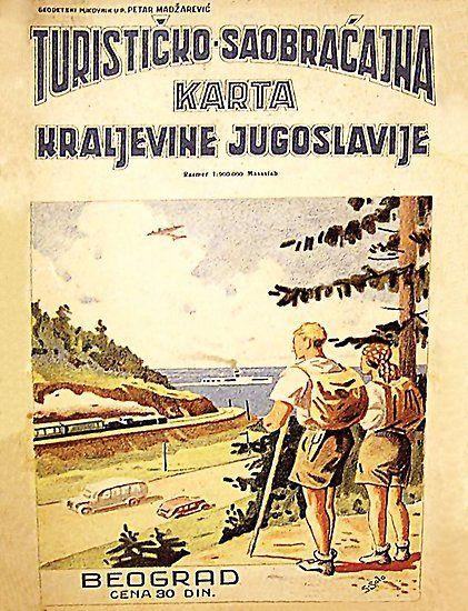 Karta Yugoslavia.Tourist Map Of Yugoslavia Belgrade Vintage Poster By