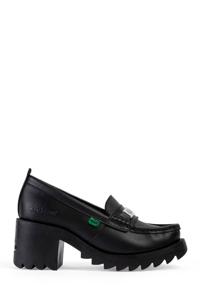 Girls Kickers Black Klio Heeled Leather Loafers Black in