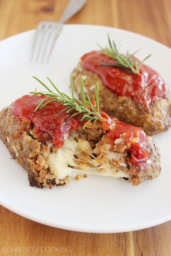 Mozzarella Stuffed Italian Mini Meatloaves | The Comfort of Cooking