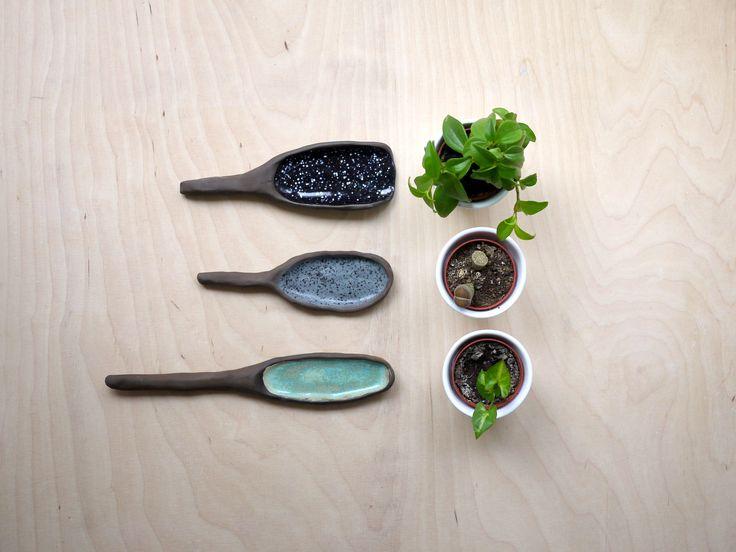 Set of ceramic spoons.
