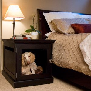 So awesome! A dog crate that looks like a nightstand, so it will fit perfectly in the decor of your room!    TownHaus Wood Designer Dog Crate Furniture by DenHaus - PetSmart.Dogs Beds, Ideas, Dogs Crates, Doggie Beds, Dogs House, Pets, Dog Crates, Dog Beds, Night Stands