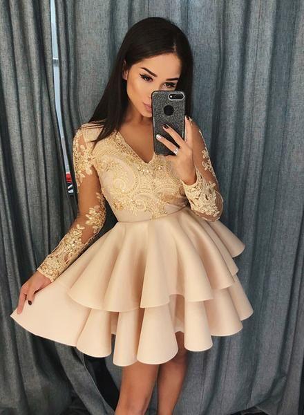 Champagne v neck lace short prom dress, long sleeve evening dress