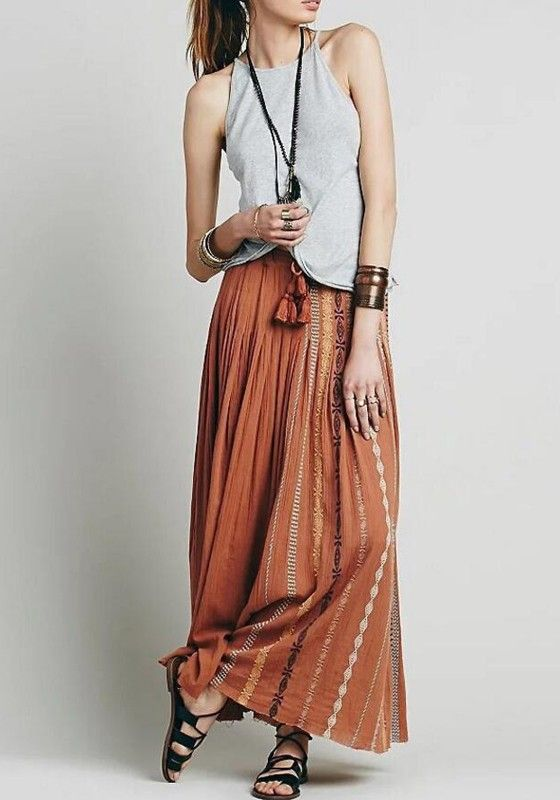 Coffee Floral Embroidery Tassel Draped Drawstring Waist Bohemian Skirt