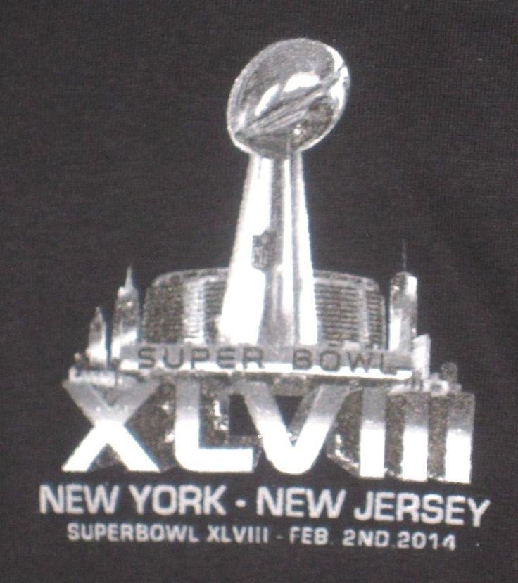 NY 2014 Seahawks Broncos Adult Large Black Super Bowl T-Shirt (L Russell Wilson) #GildanUltraCotton #SeattleSeahawks