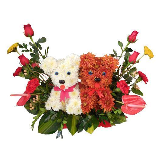 Image result for arreglos florales con oso de peluche gigante