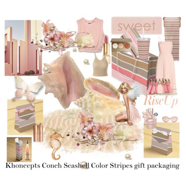 Khoncepts Conch Seashell Color Stripes Gift Packaging