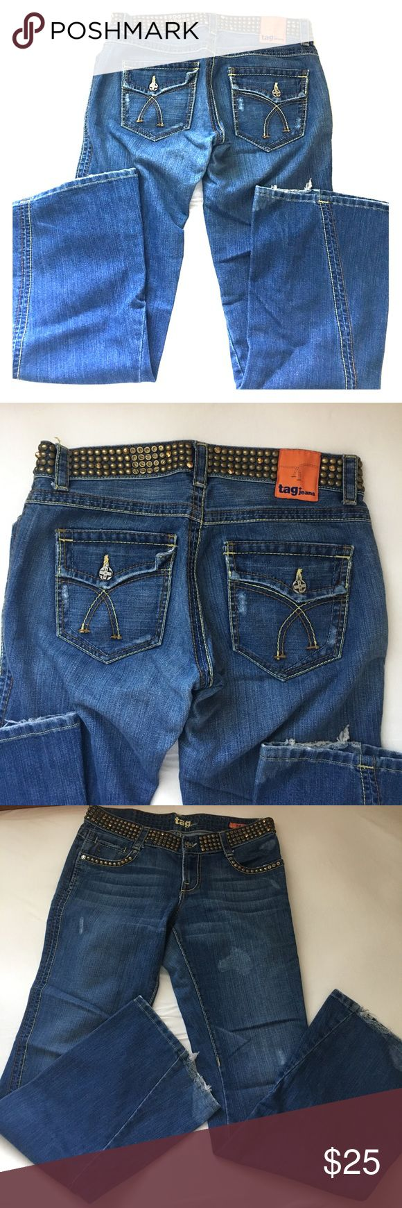 Tag Jeans with Nail heads Tag Jeans with Nail heads Tag Jeans Flare & Wide Leg