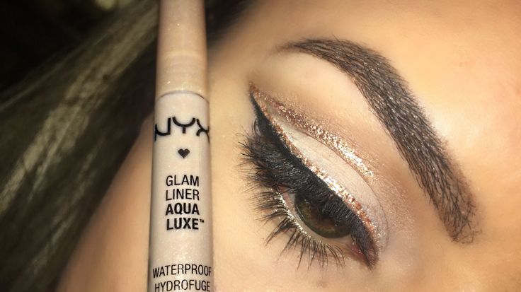 NYX glam luxe liner in glam nude for glitter eyeliner paired with jet black gel liner and a neutral shadow