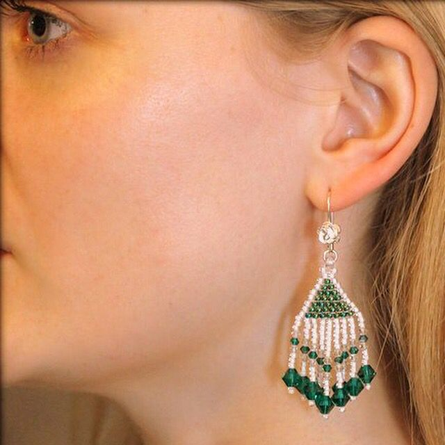 Lovely beaded earrings  green & white  Native american design  now available in shop www.stopandwearjewelry.com