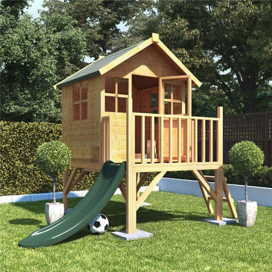 25+ Best Wooden Playhouse With Slide Ideas On Pinterest