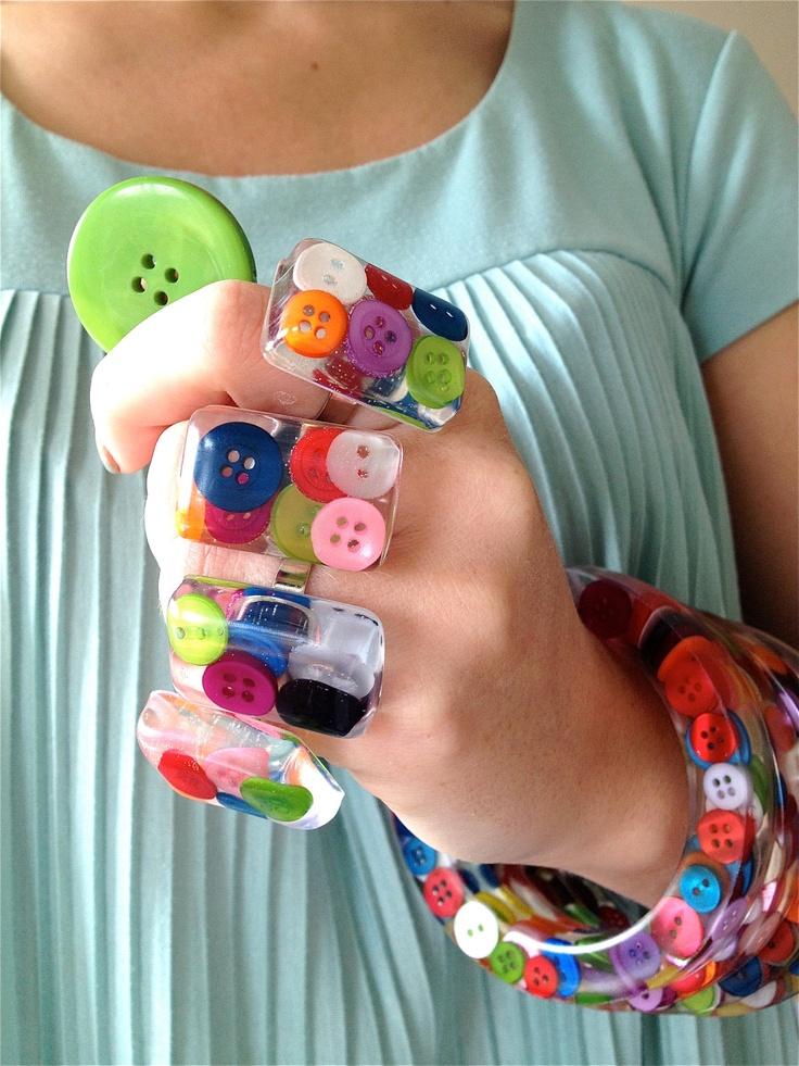 Resin Button Ring. Handmade in Ireland. £8.00, via Etsy.