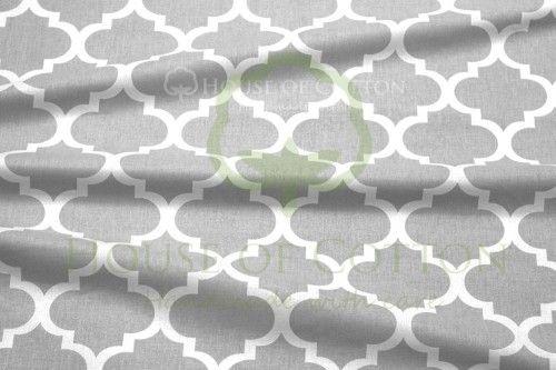 Bawełna szary czteroliść quatrefoil
