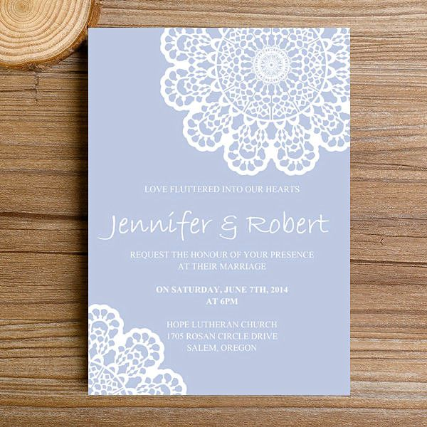 Cheap Elegant Pastel Blue Lace Spring Wedding Invitations EWI381