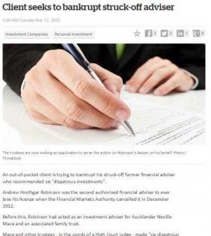 Client seeks to bankrupt struck-off adviser