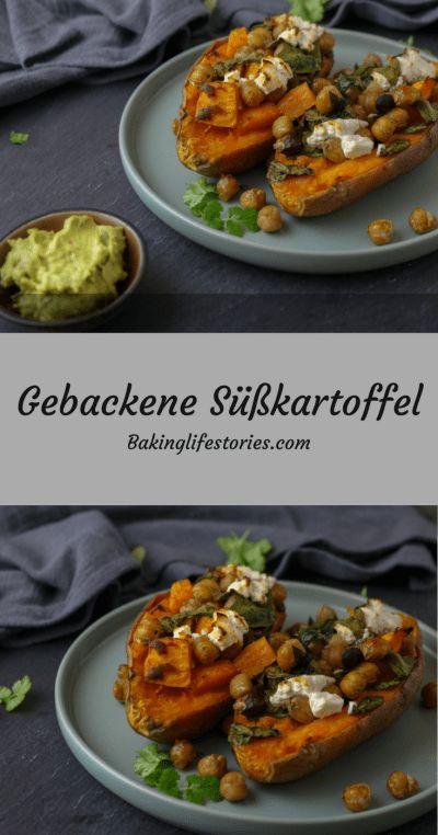 Gebackene Süßkartoffel mit Spinat & Ziegenkäse #Veggiedienstag - BakingLifeStories