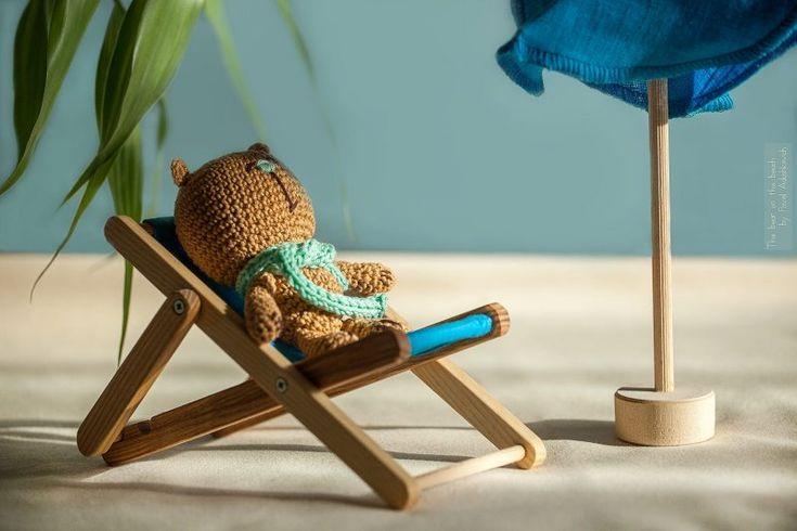 handmade, мишка загорает на лежаке
