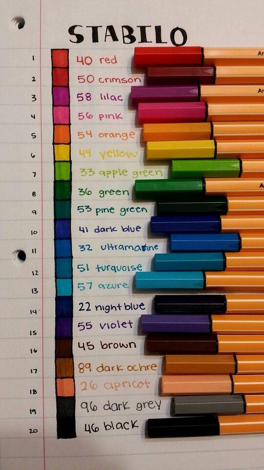 Stabilo pen color chart. 20 pack