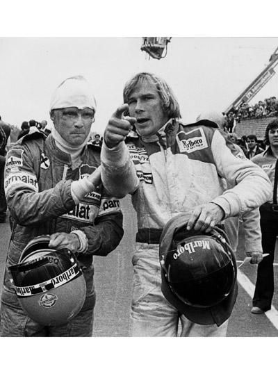 Niki Lauda and James Hunt (1976).  See the movie Rush to learn their story. https://www.facebook.com/clubautozone