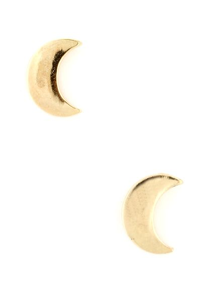 Pin-up Darling - Crescent Moon Earring set in Gold, $6.25 (http://www.pinupdarling.com/crescent-moon-earring-set-in-gold/)