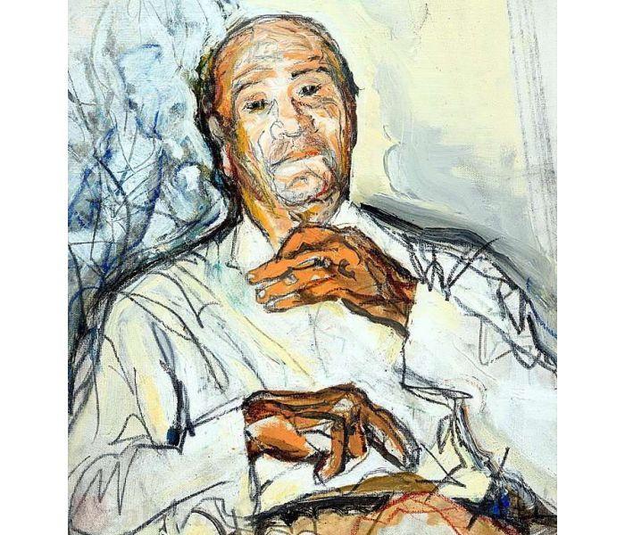 z portrait, mixed media on canvas (detail)