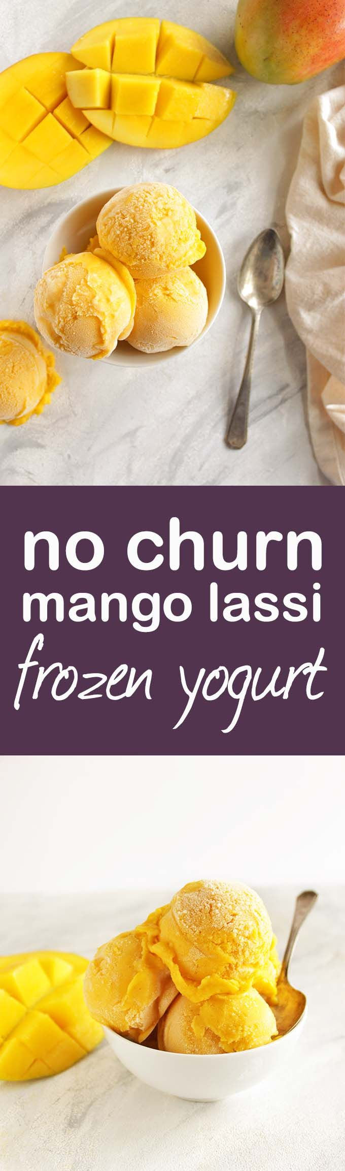 Creamy, sweet and slightly tangy with a hint of cardamom for that classic mango lassi taste. This frozen yogurt recipe is super easy to make, only 15 minutes of hands on time and no ice cream maker required! The perfect summertime treat. Gluten Free/Refined Sugar Free | robustrecipes.com