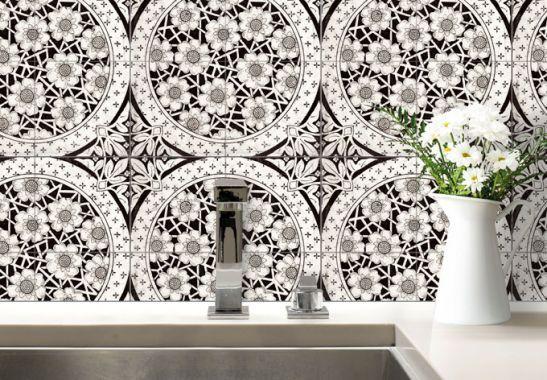 Superbes fleurs victoriennes pour la déco de votre salle de bain ou cuisine sur www.wall-art.fr