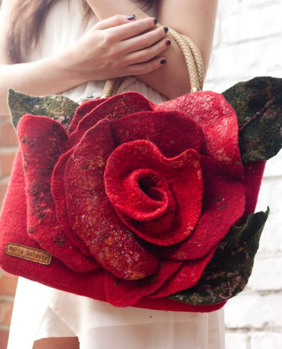 "Felted Bag Handbag Purse Felt Nunofelt Nuno felt Eco handmadered bag Fiber Art a gift for woman ""Frida garden. Scarlet Rose"""