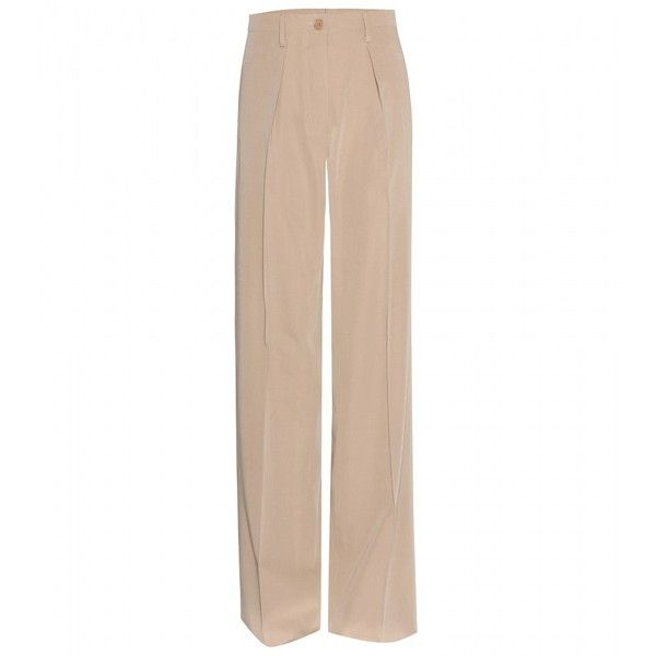 Bottega Veneta Wool Wide-Leg Trousers (15,040 PHP) ❤ liked on Polyvore featuring pants, trousers, bottoms, pantaloni, beige, wide leg pants, pink wide leg pants, wool trousers, beige pants and woolen pants