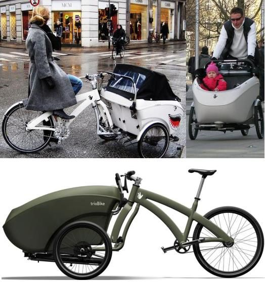 trio ~ cargo bike, push chair and carrier bike