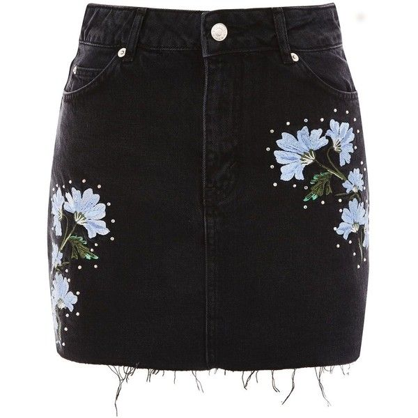 Topshop Moto Floral Embroidered Skirt ($38) ❤ liked on Polyvore featuring skirts, mini skirts, topshop, bottoms, saias, washed black, topshop mini skirt, topshop skirts, studded skirts and mini skirt