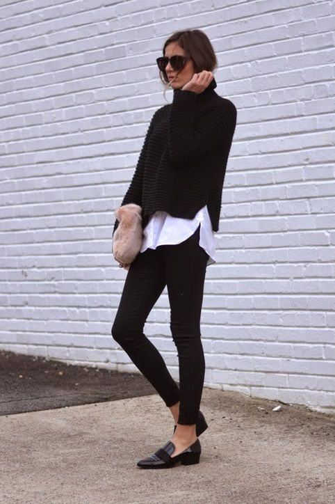 Black Cropped Turtleneck Sweater - Work a turtleneck silhouette into your layering game this season by throwing a cropped turtleneck sweater over a long button-down tunic.