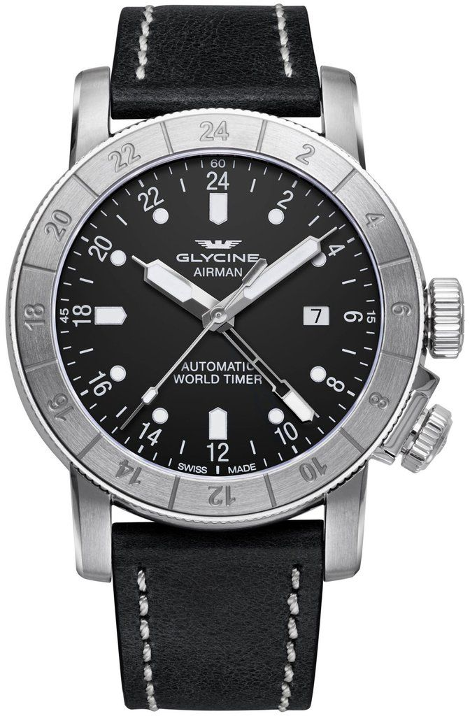 Glycine Watch Airman 44 Pre-Order #add-content #basel-17 #bezel-bidirectional #bracelet-strap-leather #brand-glycine #case-material-steel #case-width-44mm #date-yes #delivery-timescale-call-us #dial-colour-black #gender-mens #gmt-yes #luxury #movement-aut