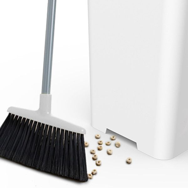 An app-connected trashcan which reminds you when to take out the trash and with a built-in vacuum for sweeping.