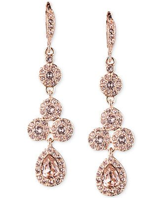 Givenchy Rose Gold-Tone Swarovski Element Linear Drop Earrings. I wore these at my wedding with matching necklace and bracelet. Stunning!