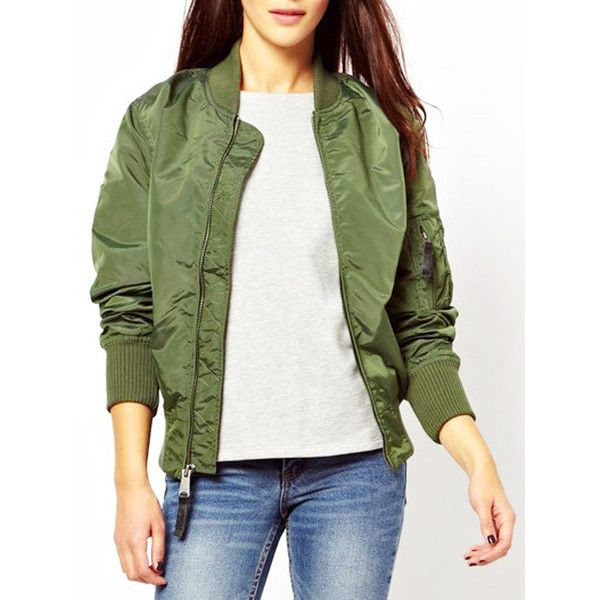 Military Green Zip Up Long Sleeve Bomber Jacket ($27) ❤ liked on Polyvore featuring outerwear, jackets, green flight jacket, olive green bomber jacket, long sleeve jacket, zip up jackets and green camo jacket