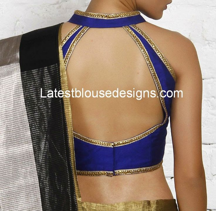 Blue Halter Neck Blouse | Latest Blouse Designs