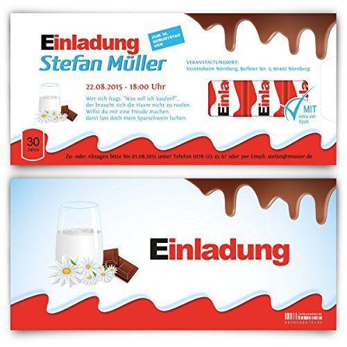 Einladungen zum Geburtstag (50 Stück) lila Schokolade Schoko Esel Einladungskarten