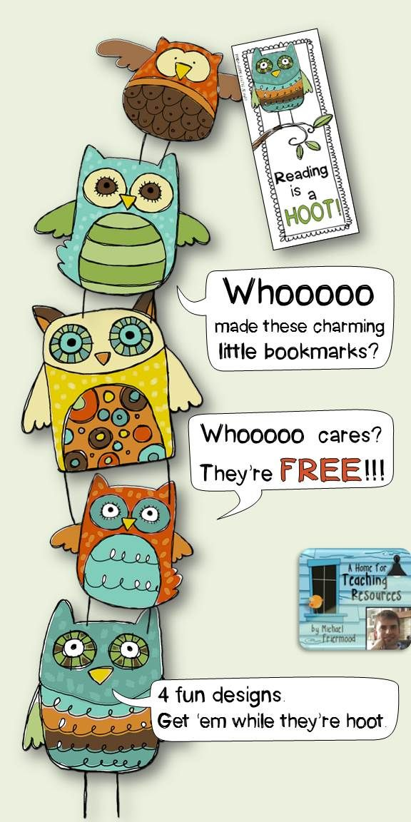 **FREE** Charming Little Owl Bookmarks. 4 fun designs.