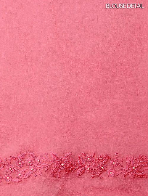 Buy Green Pink Digital Printed Georgette Satin Saree With Parsi Gara
